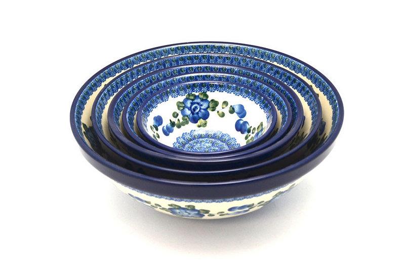 Ceramika Artystyczna Polish Pottery Nesting Bowl Set - Blue Poppy S05-163a (Ceramika Artystyczna)