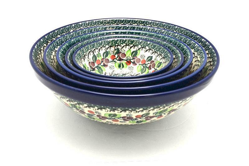 Ceramika Artystyczna Polish Pottery Nesting Bowl Set - Burgundy Berry Green S05-1415a (Ceramika Artystyczna)