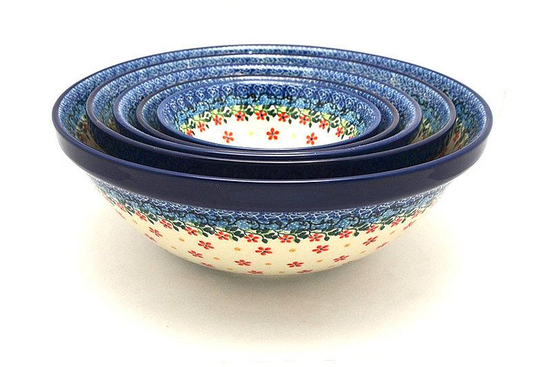Ceramika Artystyczna Polish Pottery Nesting Bowl Set - Cherry Jubilee S05-2284a (Ceramika Artystyczna)