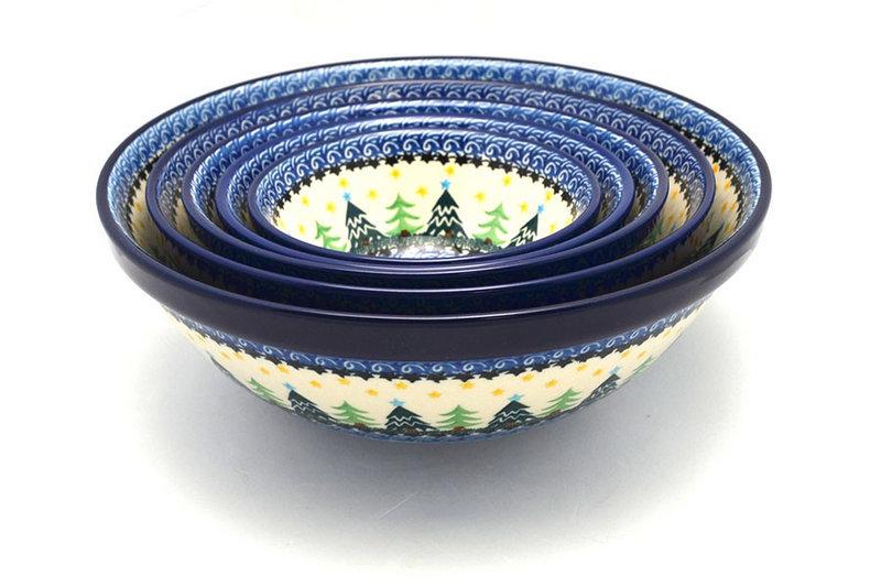 Ceramika Artystyczna Polish Pottery Nesting Bowl Set - Christmas Trees S05-1284a (Ceramika Artystyczna)