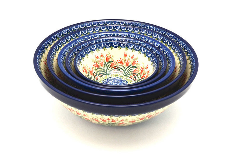 Polish Pottery Nesting Bowl Set - Crimson Bells