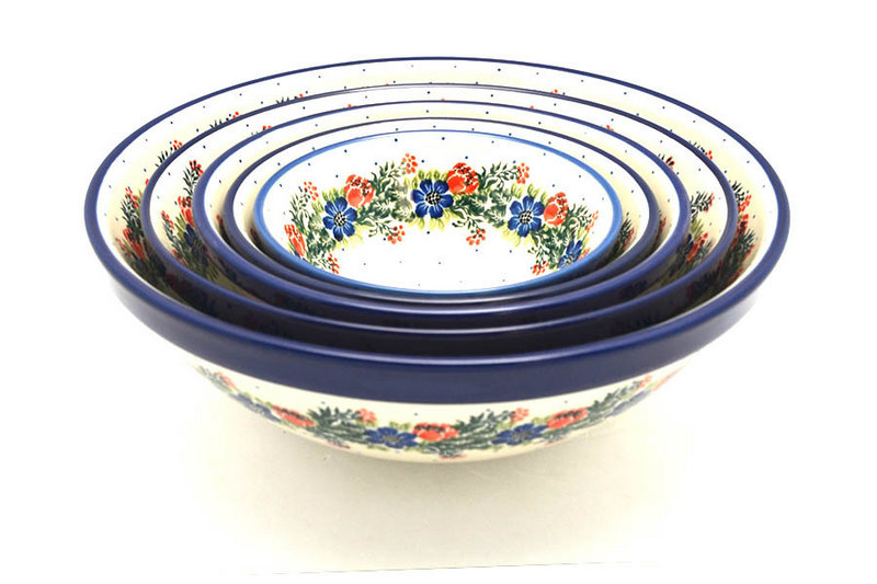 Polish Pottery Nesting Bowl Set - Garden Party