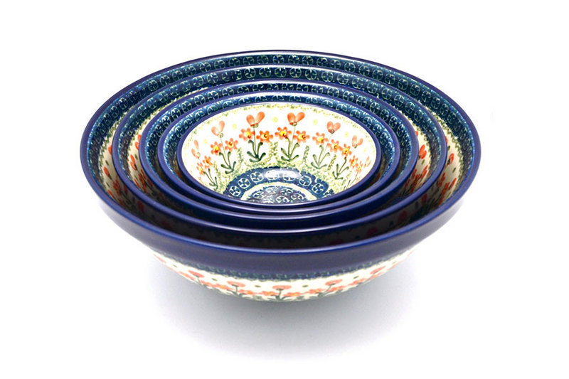 Polish Pottery Nesting Bowl Set - Peach Spring Daisy