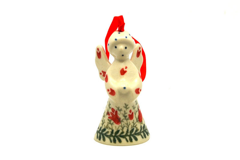Ceramika Artystyczna Polish Pottery Ornament - Angel - Crimson Bells C67-1437a (Ceramika Artystyczna)
