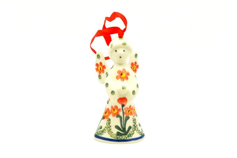 Ceramika Artystyczna Polish Pottery Ornament - Angel - Peach Spring Daisy C67-560a (Ceramika Artystyczna)