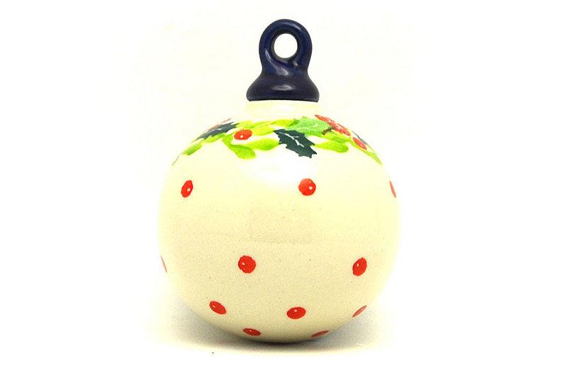 Ceramika Artystyczna Polish Pottery Ornament - Ball - Christmas Holly 186-2541a (Ceramika Artystyczna)