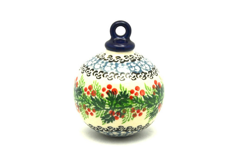 Polish Pottery Ornament - Ball - Holly Berry