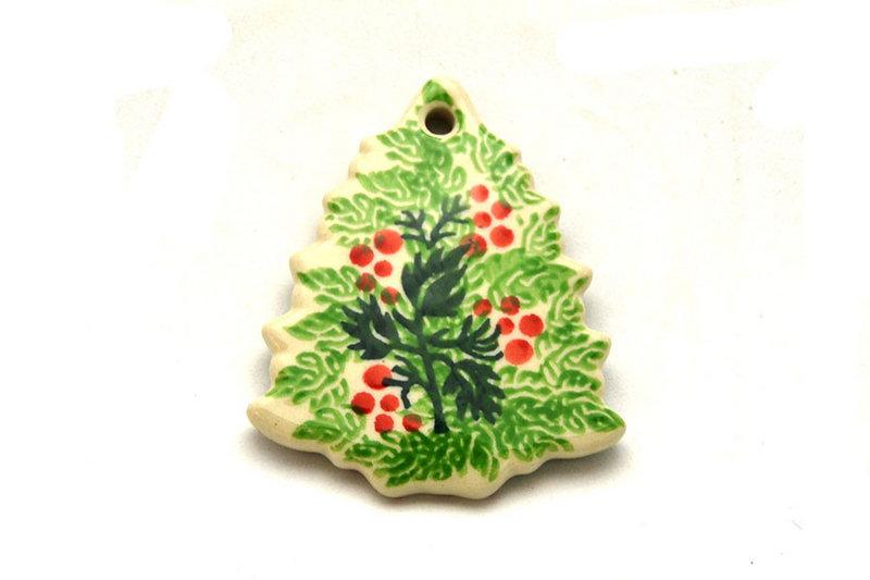 Ceramika Artystyczna Polish Pottery Ornament - Christmas Tree - Holly Berry A87-1734a (Ceramika Artystyczna)
