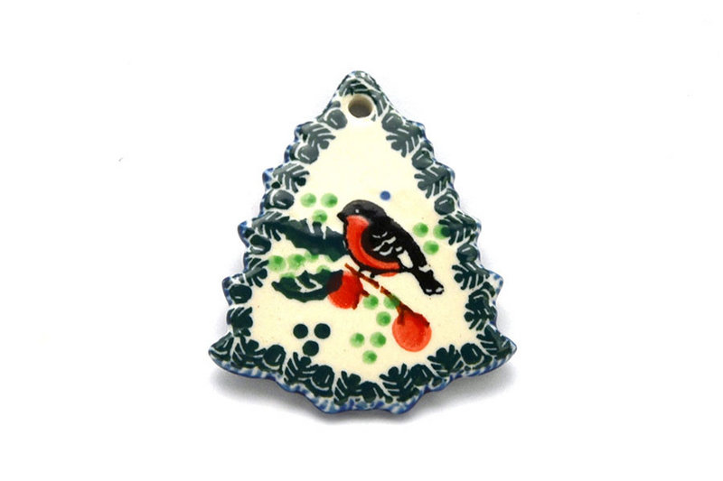 Ceramika Artystyczna Polish Pottery Ornament - Christmas Tree - Red Robin A87-1257a (Ceramika Artystyczna)