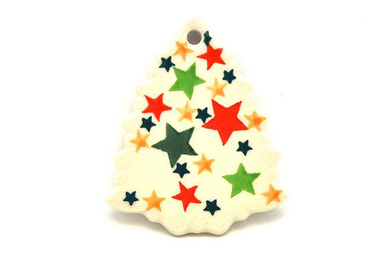 Ceramika Artystyczna Polish Pottery Ornament - Christmas Tree - Star Studded A87-2258a (Ceramika Artystyczna)