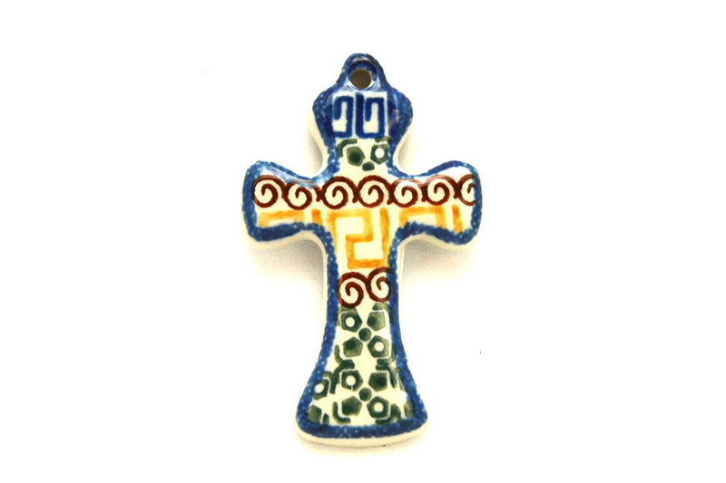 Ceramika Artystyczna Polish Pottery Ornament - Cross - Autumn 612-050a (Ceramika Artystyczna)