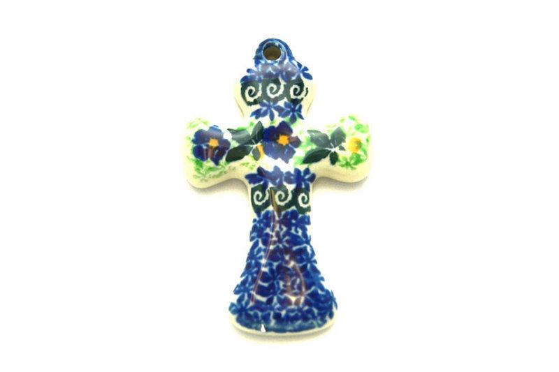 Ceramika Artystyczna Polish Pottery Ornament - Cross - Blue Pansy 612-1552a (Ceramika Artystyczna)