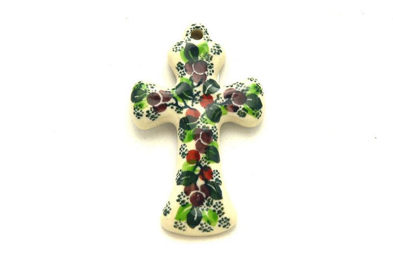Ceramika Artystyczna Polish Pottery Ornament - Cross - Burgundy Berry Green 612-1415a (Ceramika Artystyczna)