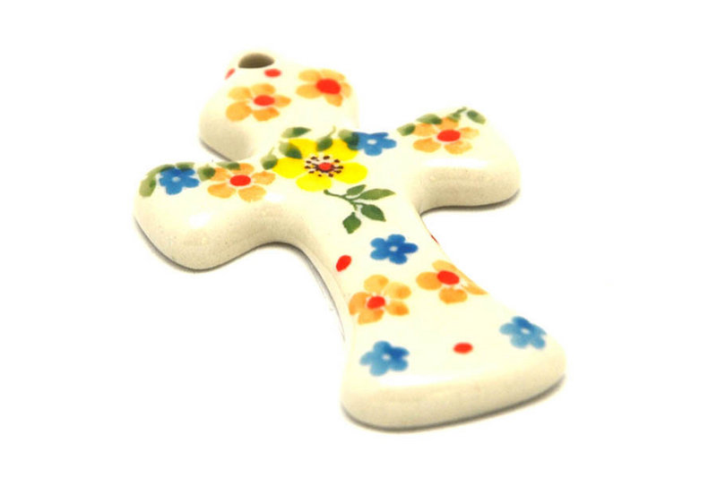 Ceramika Artystyczna Polish Pottery Ornament - Cross - Buttercup 612-2225a (Ceramika Artystyczna)