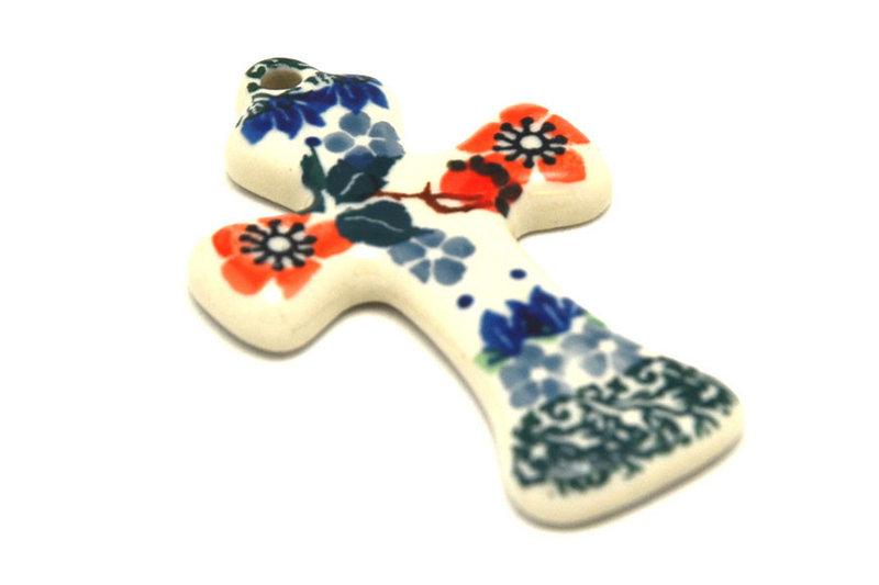 Ceramika Artystyczna Polish Pottery Ornament - Cross - Cherry Blossom 612-2103a (Ceramika Artystyczna)