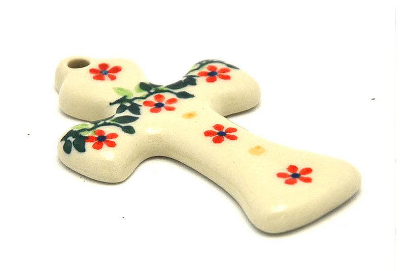 Ceramika Artystyczna Polish Pottery Ornament - Cross - Cherry Jubilee 612-2284a (Ceramika Artystyczna)