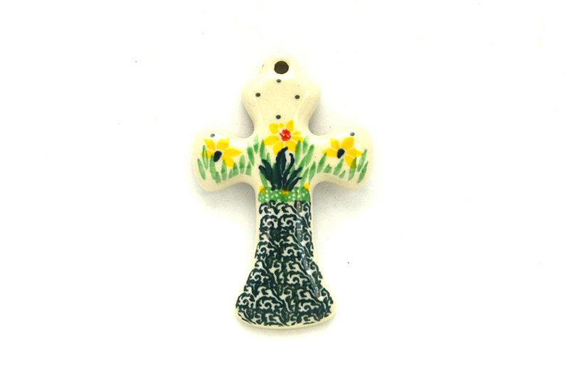Ceramika Artystyczna Polish Pottery Ornament - Cross - Daffodil 612-2122q (Ceramika Artystyczna)