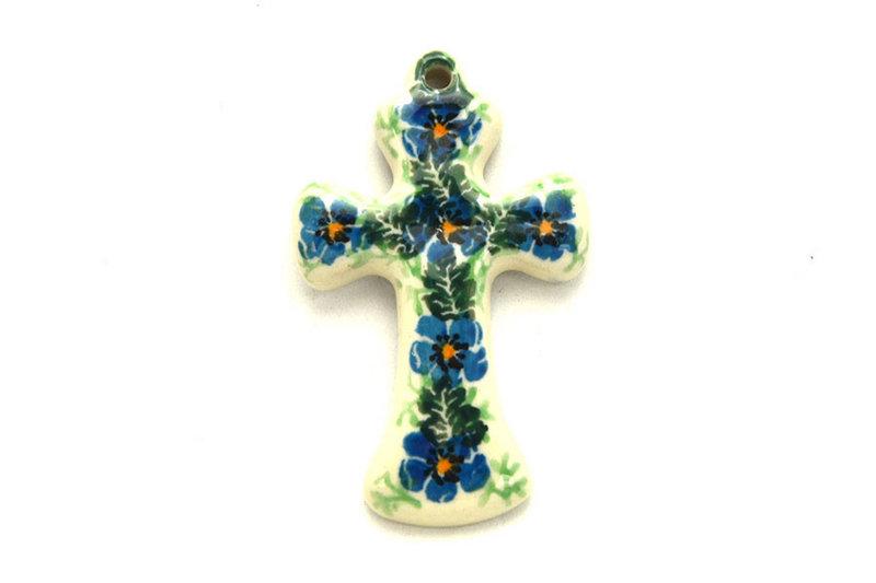 Ceramika Artystyczna Polish Pottery Ornament - Cross - Morning Glory 612-1915a (Ceramika Artystyczna)