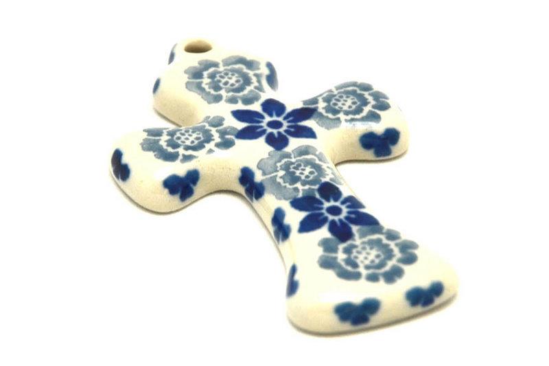Ceramika Artystyczna Polish Pottery Ornament - Cross - Silver Lace 612-2158a (Ceramika Artystyczna)