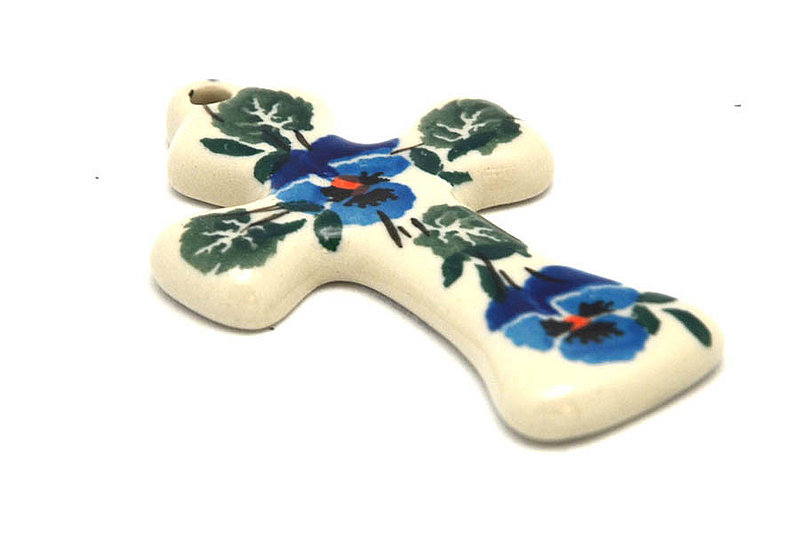 Ceramika Artystyczna Polish Pottery Ornament - Cross - Winter Viola 612-2273a (Ceramika Artystyczna)