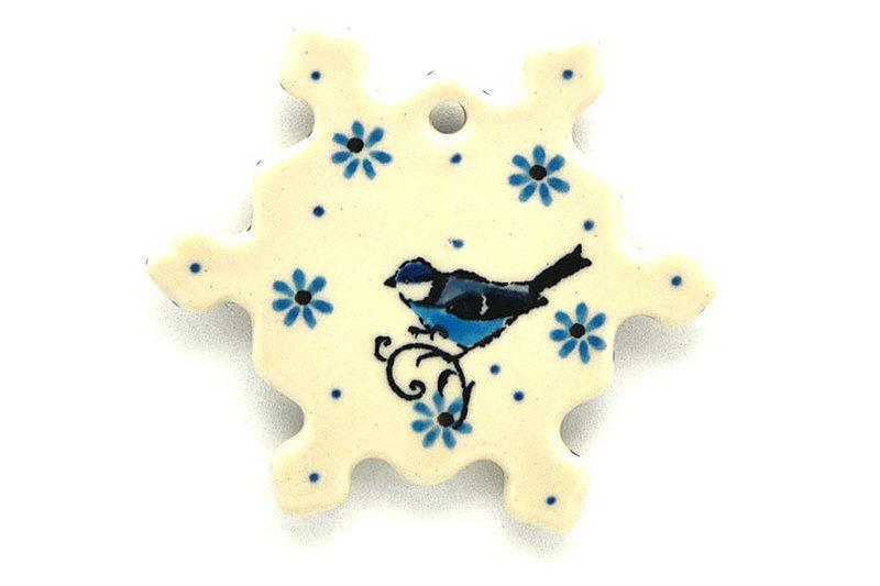 Ceramika Artystyczna Polish Pottery Ornament - Snowflake - Bluebird A88-2529a (Ceramika Artystyczna)