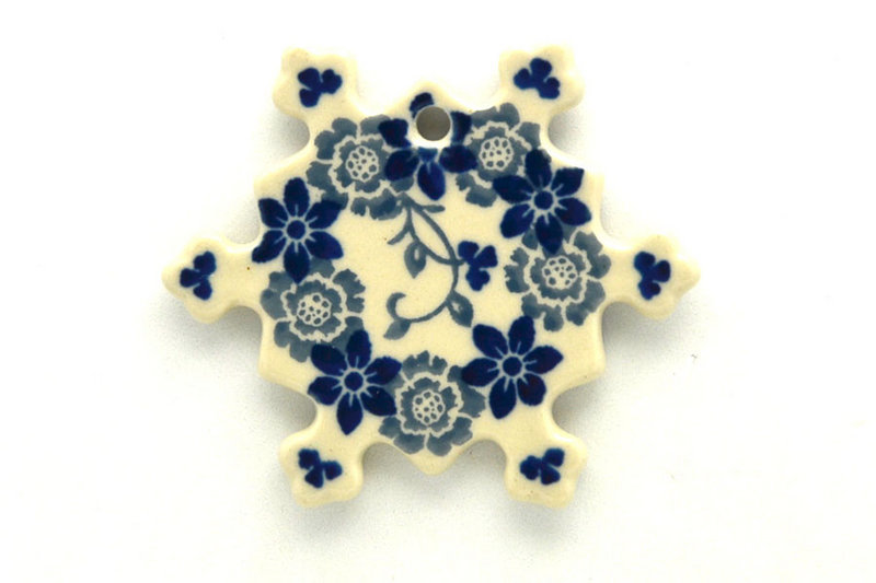 Ceramika Artystyczna Polish Pottery Ornament - Snowflake - Silver Lace A88-2158a (Ceramika Artystyczna)