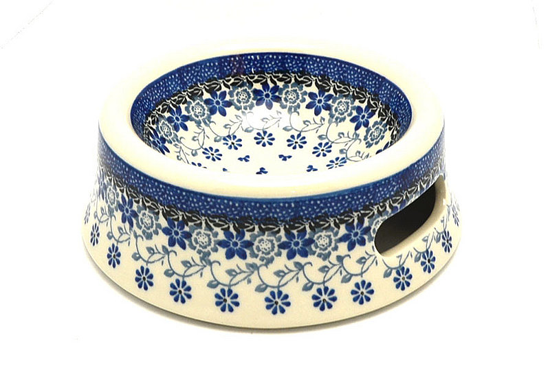 Polish Pottery Pet Food/Water Dish - 12 oz. - Silver Lace