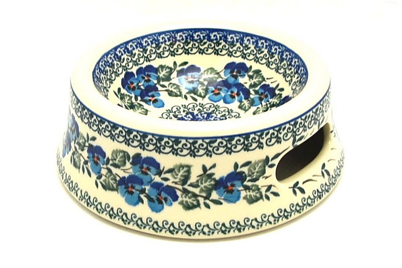 Polish Pottery Pet Food/Water Dish - 12 oz. - Winter Viola