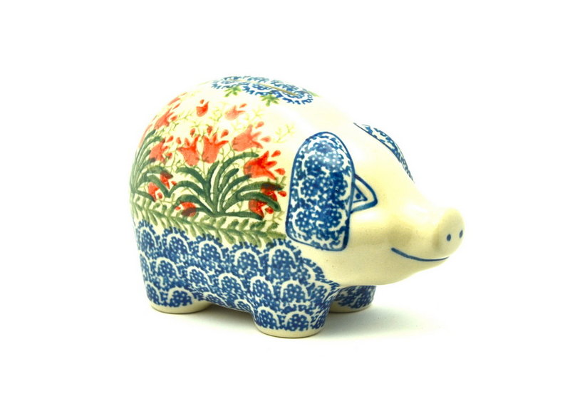 Ceramika Artystyczna Polish Pottery Piggy Bank - Crimson Bells 155-1437a (Ceramika Artystyczna)
