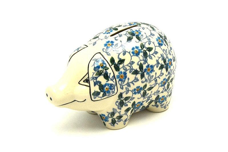 Ceramika Artystyczna Polish Pottery Piggy Bank - Forget-Me-Knot 155-2089a (Ceramika Artystyczna)