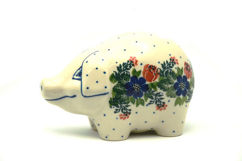 Ceramika Artystyczna Polish Pottery Piggy Bank - Garden Party 155-1535a (Ceramika Artystyczna)