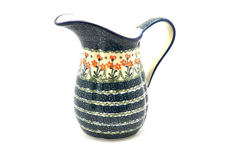 Ceramika Artystyczna Polish Pottery Pitcher - 2 pint - Peach Spring Daisy B35-560a (Ceramika Artystyczna)