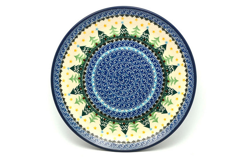"Ceramika Artystyczna Polish Pottery Plate - 10"" Dinner - Christmas Trees 257-1284a (Ceramika Artystyczna)"
