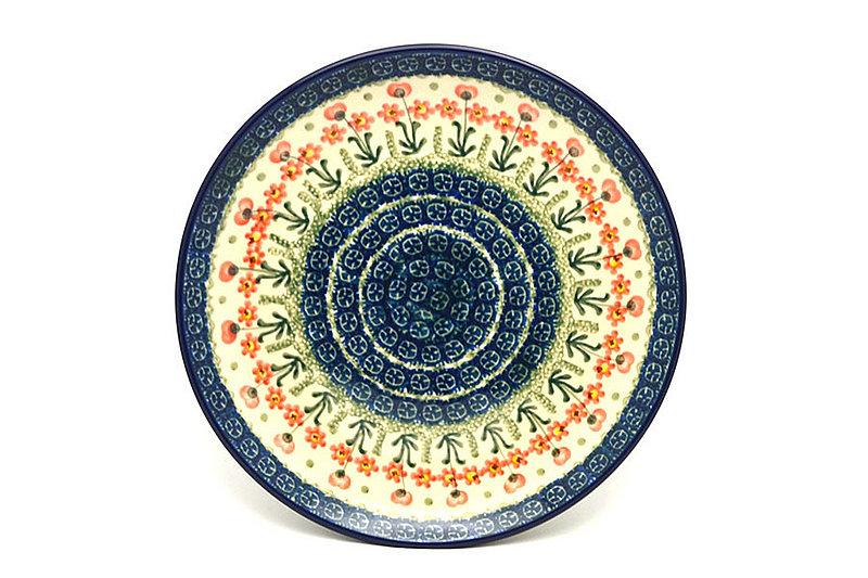 """Polish Pottery Plate - 10"""" Dinner - Peach Spring Daisy"""