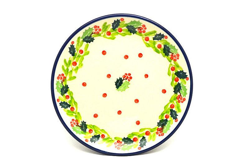 "Ceramika Artystyczna Polish Pottery Plate - Bread & Butter (6 1/4"") - Christmas Holly 261-2541a (Ceramika Artystyczna)"