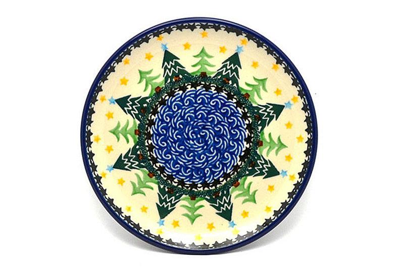 "Ceramika Artystyczna Polish Pottery Plate - Bread & Butter (6 1/4"") - Christmas Trees 261-1284a (Ceramika Artystyczna)"