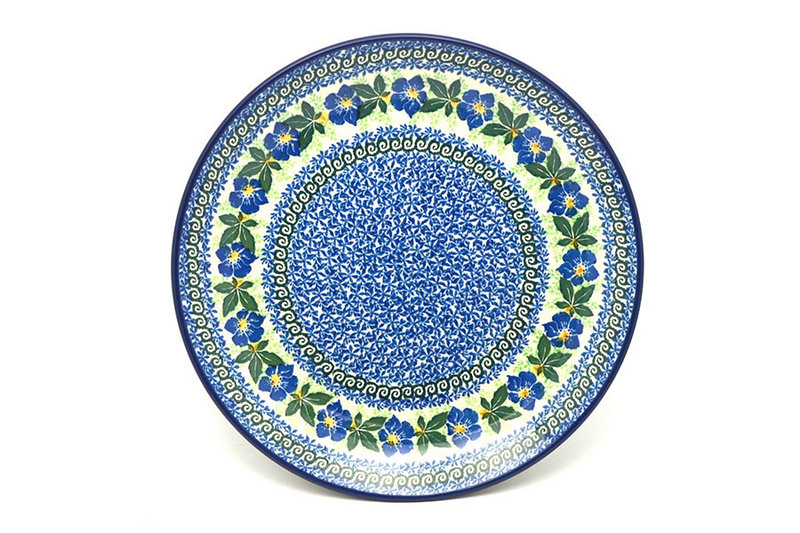 "Ceramika Artystyczna Polish Pottery Plate - Dinner (10 1/2"") - Blue Pansy 223-1552a (Ceramika Artystyczna)"