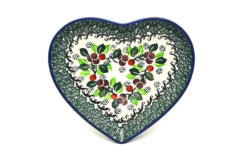 Ceramika Artystyczna Polish Pottery Plate - Heart - Burgundy Berry Green 959-1415a (Ceramika Artystyczna)