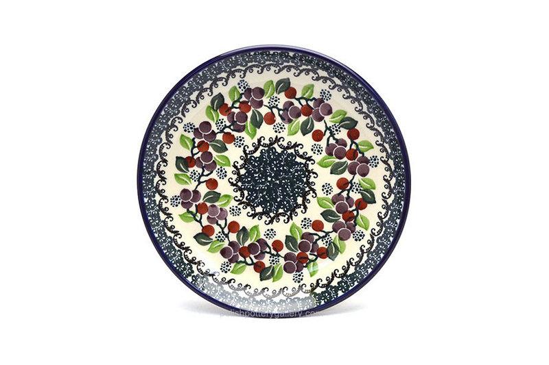 "Ceramika Artystyczna Polish Pottery Plate - Salad/Dessert (7 3/4"") - Burgundy Berry Green 086-1415a (Ceramika Artystyczna)"