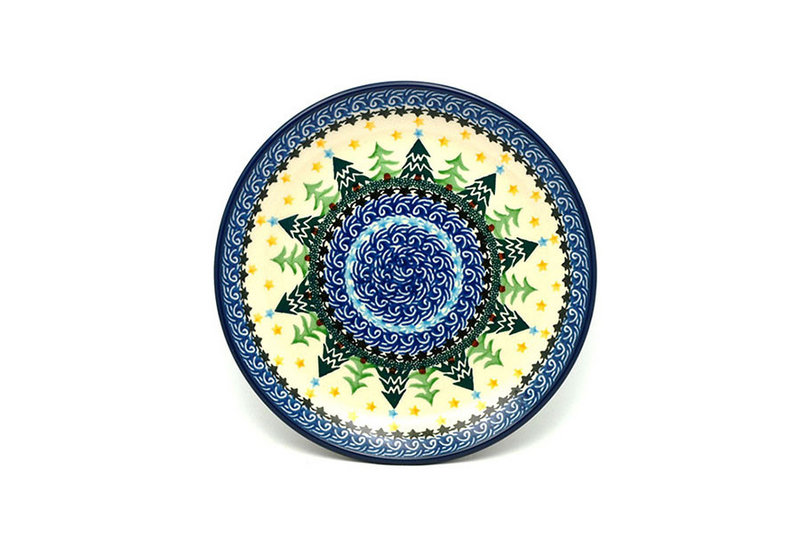 "Ceramika Artystyczna Polish Pottery Plate - Salad/Dessert (7 3/4"") - Christmas Trees 086-1284a (Ceramika Artystyczna)"