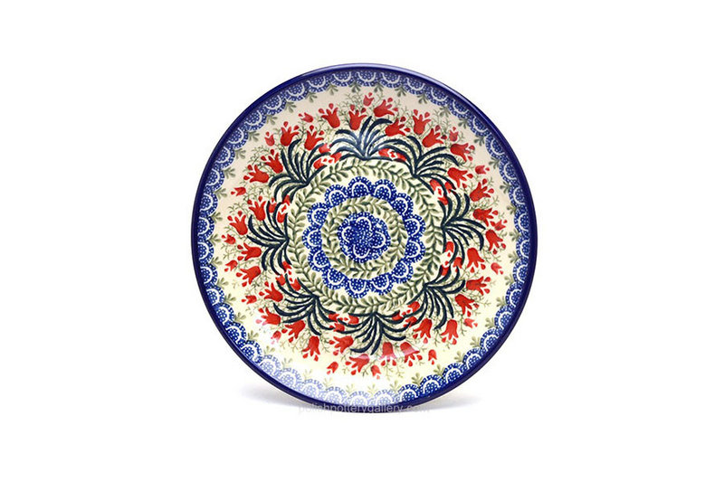 "Ceramika Artystyczna Polish Pottery Plate - Salad/Dessert (7 3/4"") - Crimson Bells 086-1437a (Ceramika Artystyczna)"