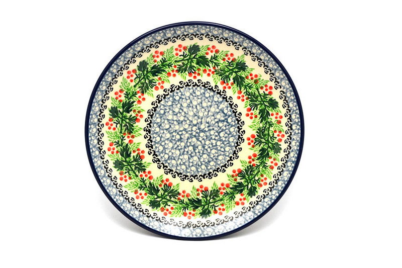 "Ceramika Artystyczna Polish Pottery Plate - Salad/Dessert (7 3/4"") - Holly Berry 086-1734a (Ceramika Artystyczna)"