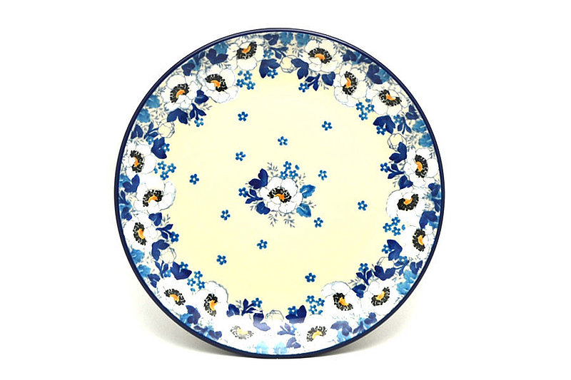 "Ceramika Artystyczna Polish Pottery Plate - Salad/Dessert (7 3/4"") - White Poppy 086-2222a (Ceramika Artystyczna)"