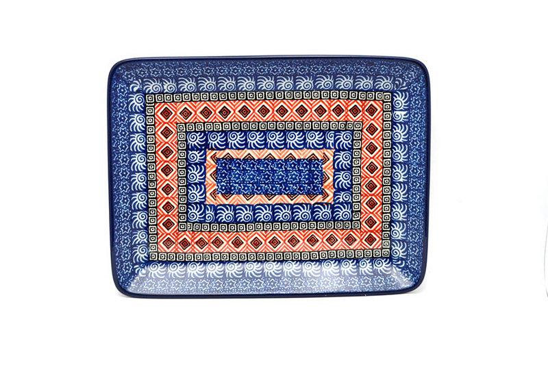 Ceramika Artystyczna Polish Pottery Platter - Rectangular - Aztec Sun 111-1350a (Ceramika Artystyczna)