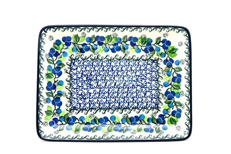 Ceramika Artystyczna Polish Pottery Platter - Rectangular - Blue Berries 111-1416a (Ceramika Artystyczna)