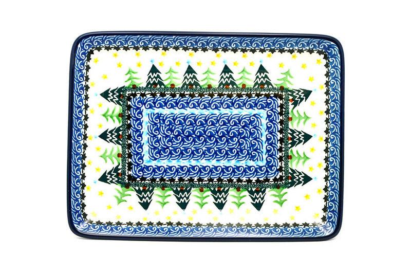 Ceramika Artystyczna Polish Pottery Platter - Rectangular - Christmas Trees 111-1284a (Ceramika Artystyczna)