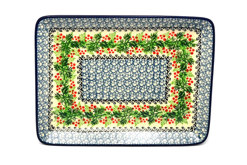 Ceramika Artystyczna Polish Pottery Platter - Rectangular - Holly Berry 111-1734a (Ceramika Artystyczna)