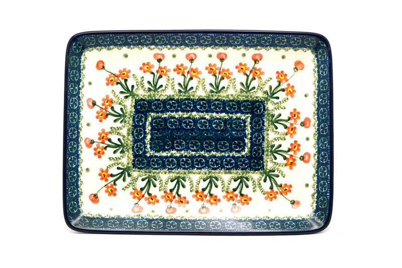 Ceramika Artystyczna Polish Pottery Platter - Rectangular - Peach Spring Daisy 111-560a (Ceramika Artystyczna)