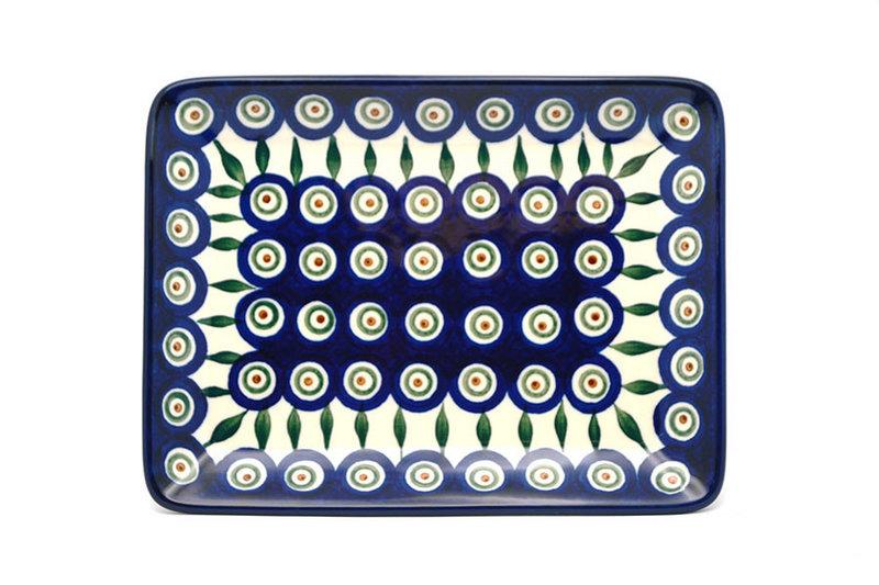 Ceramika Artystyczna Polish Pottery Platter - Rectangular - Peacock 111-054a (Ceramika Artystyczna)