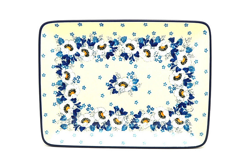 Ceramika Artystyczna Polish Pottery Platter - Rectangular - White Poppy 111-2222a (Ceramika Artystyczna)